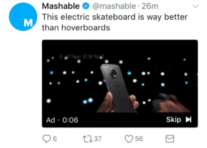 Example of a phone advert on a Mashable tweet