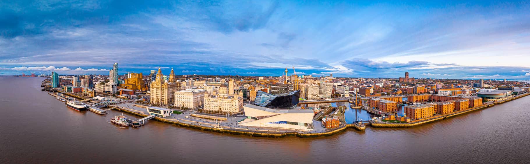 Panoramic Overheard Shot of Liverpool